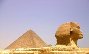 Great Pyramid of Cheops in Giza and Sphinx