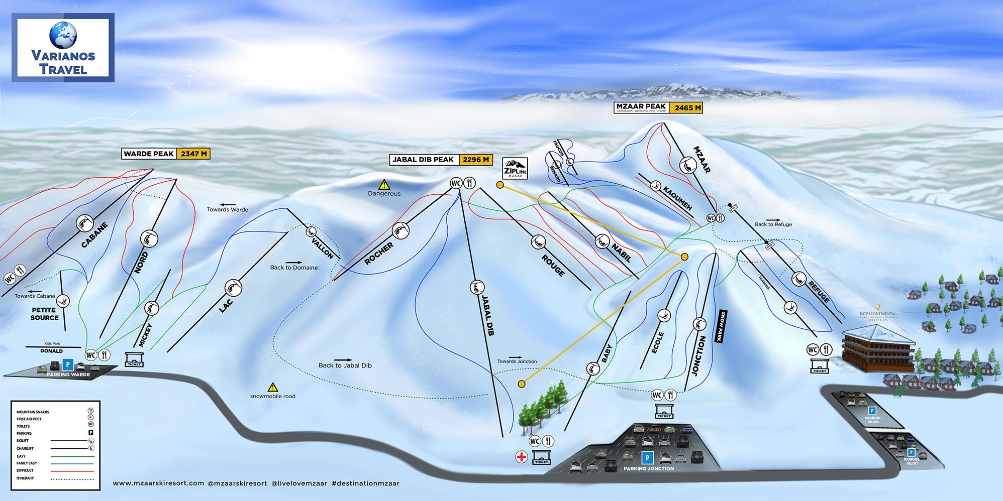 Faraya Mzaar Ski Resort Map Lebanon